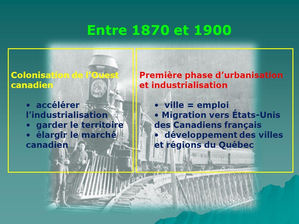Colonisation de lOuest canadien accélérer lindustrialisation garder le territoire élargir le marché canadien Première phase durbanisation et industria