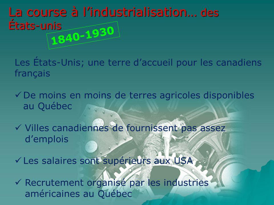 La course à lindustrialisation… des États-unis 1840-1930 Les États-Unis; une terre daccueil pour les canadiens français De moins en moins de terres ag