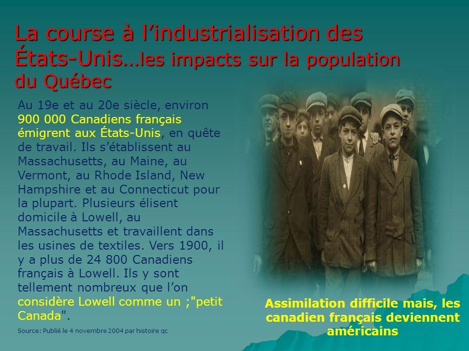 La course à lindustrialisation des États-Unis… les impacts sur la population du Québec Au 19e et au 20e siècle, environ 900 000 Canadiens français émi