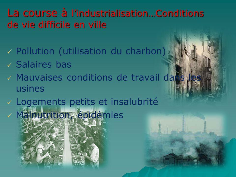 La course à lindustrialisation…Conditions de vie difficile en ville Pollution (utilisation du charbon) Salaires bas Mauvaises conditions de travail da