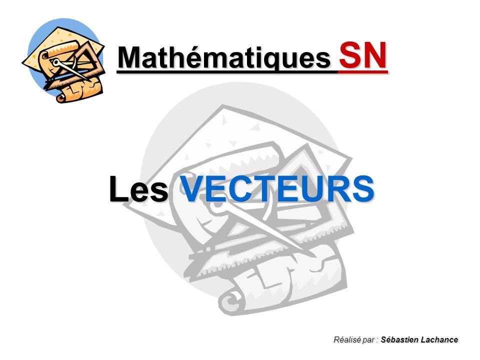 Mathématiques SN Les VECTEURS Réalisé par : Sébastien Lachance