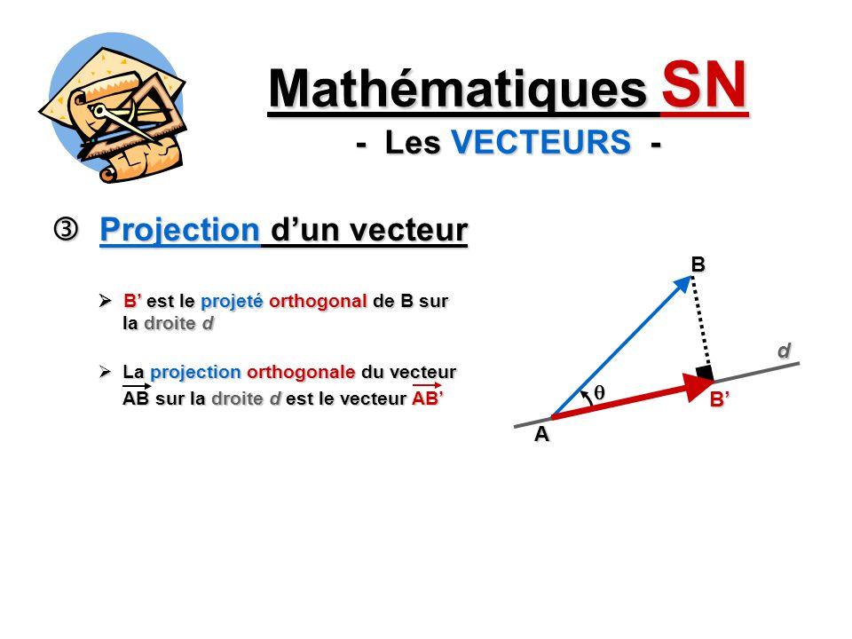Projection dun vecteur Projection dun vecteur Mathématiques SN - Les VECTEURS - La projection orthogonale du vecteur La projection orthogonale du vecteur AB sur la droite d est le vecteur AB A B d B est le projeté orthogonal de B sur la droite d B est le projeté orthogonal de B sur la droite d B