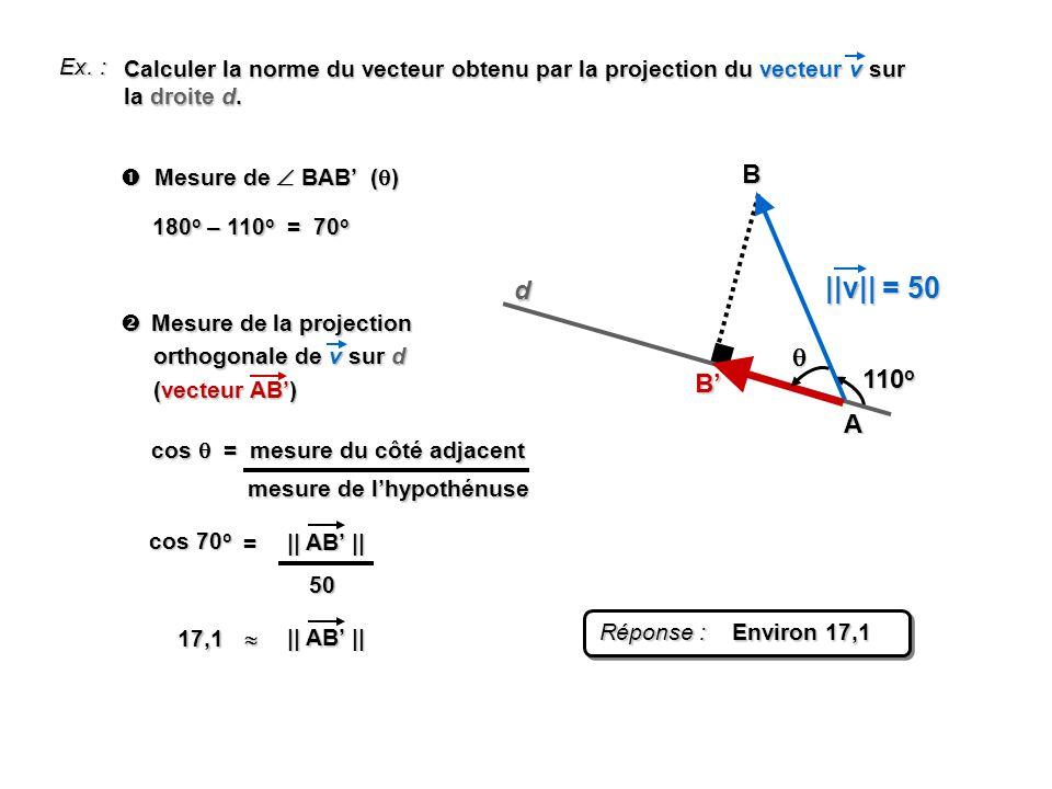 Ex. : A B 110 o d B Calculer la norme du vecteur obtenu par la projection du vecteur v sur la droite d. ||v|| = 50 Mesure de BAB ( ) Mesure de BAB ( )