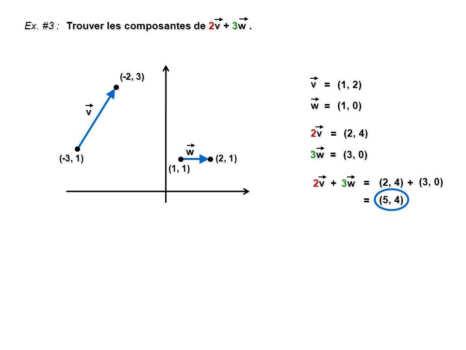 Ex. #3 : Trouver les composantes de 2v + 3w.