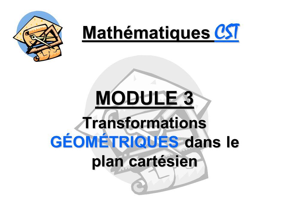 Mathématiques CST - Transformations géométriques - Translation On note t (a, b) la translation qui applique un déplacement de : a unités horizontalement b unités verticalement Donc pour chaque point P (x, y), limage devient P (x + a, y + b) pour une translation t (a, b).