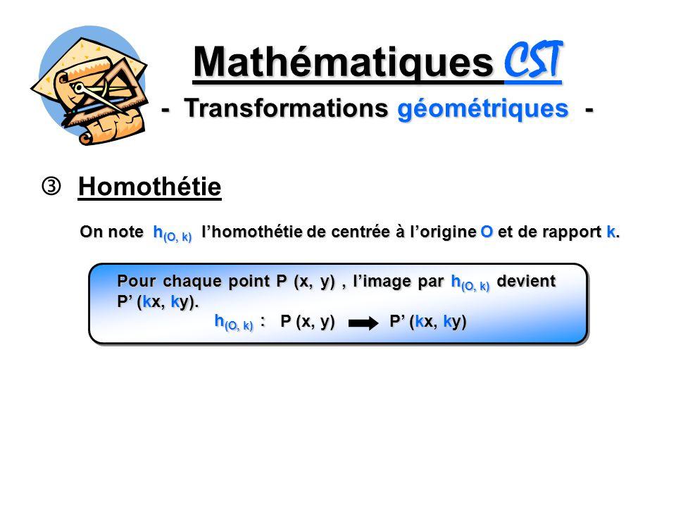 Mathématiques CST - Transformations géométriques - Homothétie On note h (O, k) lhomothétie de centrée à lorigine O et de rapport k. Pour chaque point
