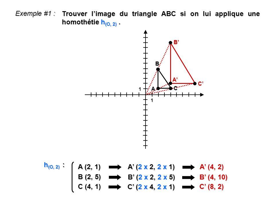 1 1 Exemple #1 : A (2, 1) A (2 x 2, 2 x 1) A (4, 2) h (O, 2) : B (2, 5) B (2 x 2, 2 x 5) B (4, 10) C (4, 1) C (2 x 4, 2 x 1) C (8, 2) Trouver limage d