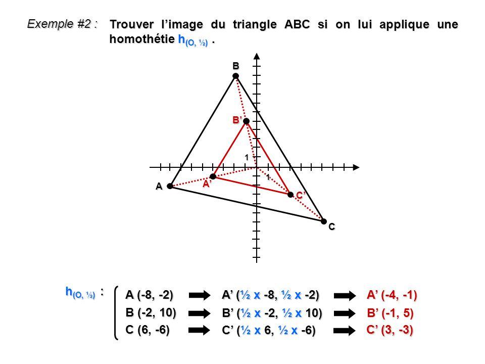 1 1 Exemple #2 : A (-8, -2) A (½ x -8, ½ x -2) A (-4, -1) h (O, ½) : B (-2, 10) B (½ x -2, ½ x 10) B (-1, 5) C (6, -6) C (½ x 6, ½ x -6) C (3, -3) Tro