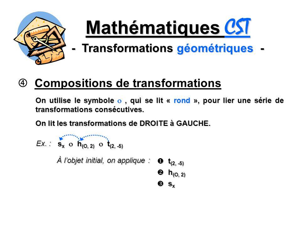 Mathématiques CST - Transformations géométriques - Compositions de transformations On utilise le symbole, qui se lit « rond », pour lier une série de
