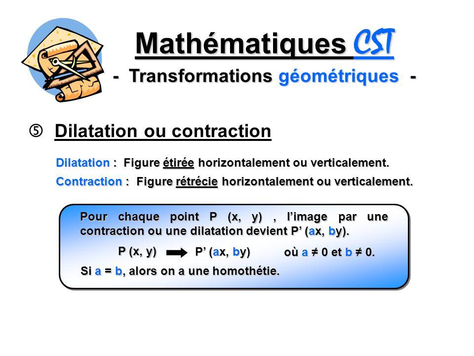 Mathématiques CST - Transformations géométriques - Dilatation ou contraction Dilatation : Figure étirée horizontalement ou verticalement. Pour chaque