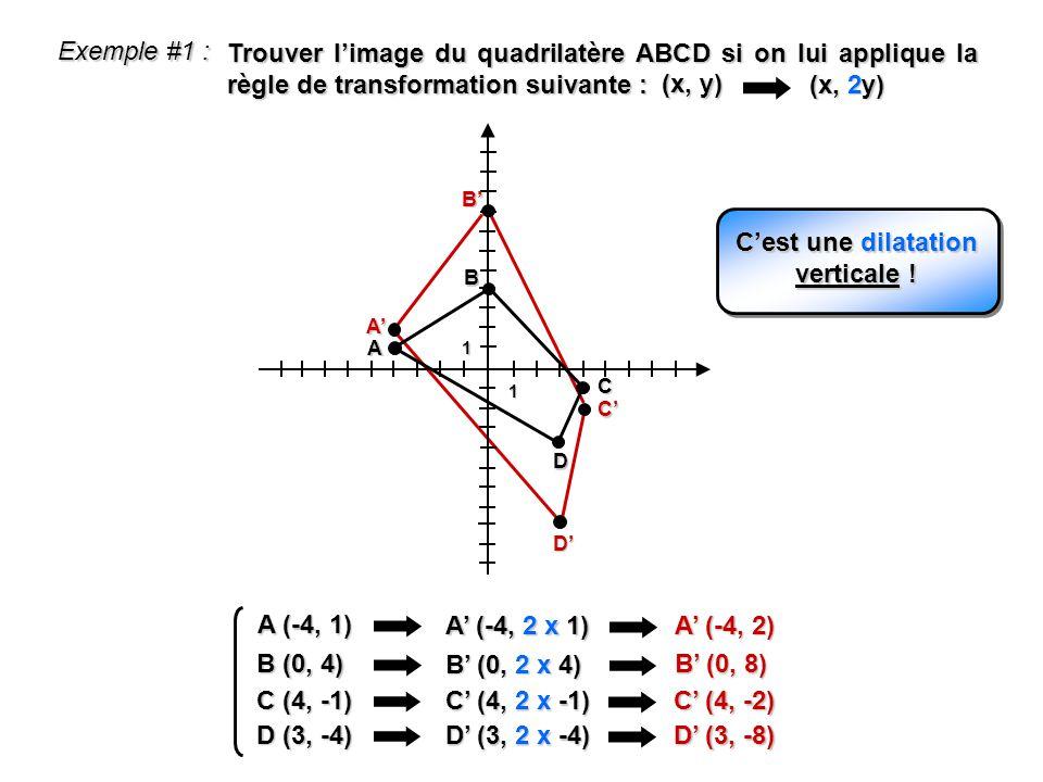 Exemple #1 : Trouver limage du quadrilatère ABCD si on lui applique la règle de transformation suivante : 1 1 A B D C B A C D (x, y) (x, 2y) A (-4, 1)