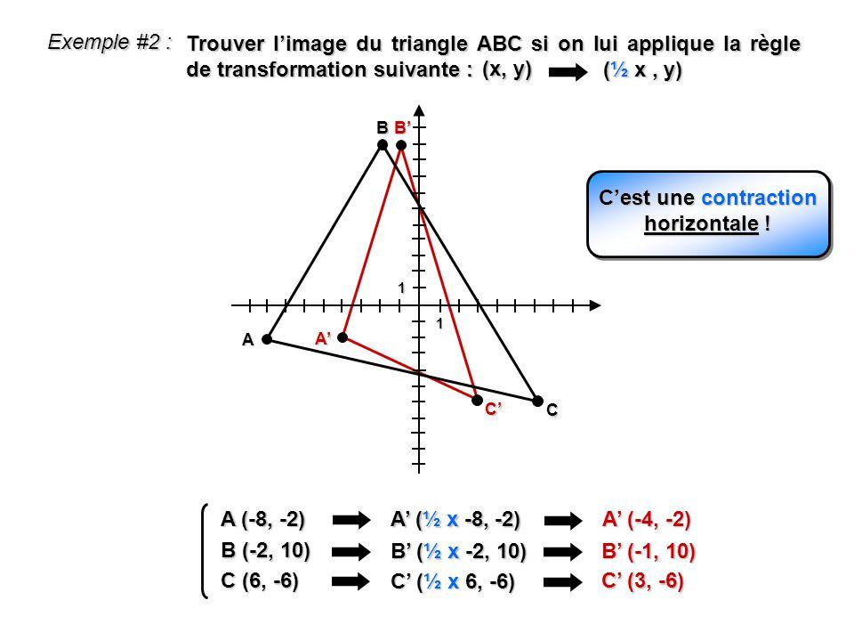 1 1 A (-8, -2) A (½ x -8, -2) A (-4, -2) B (-2, 10) B (½ x -2, 10) B (-1, 10) C (6, -6) C (½ x 6, -6) C (3, -6) A C A B C Exemple #2 : Trouver limage
