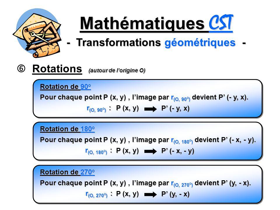 Mathématiques CST - Transformations géométriques - (autour de lorigine O) Rotations (autour de lorigine O) Pour chaque point P (x, y), limage par r (O