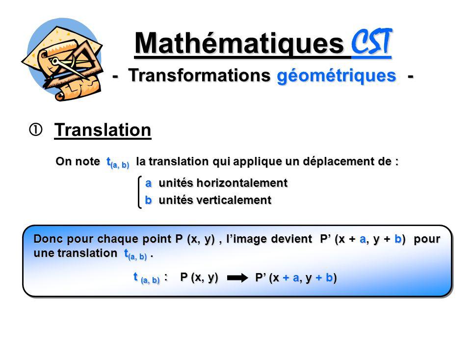 Mathématiques CST - Transformations géométriques - Translation On note t (a, b) la translation qui applique un déplacement de : a unités horizontaleme