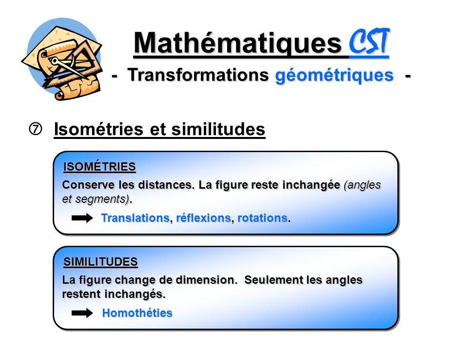 Mathématiques CST - Transformations géométriques - Isométries et similitudes ISOMÉTRIES Conserve les distances. La figure reste inchangée (angles et s