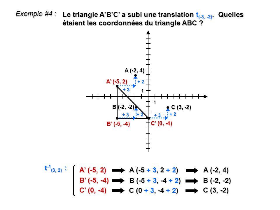 1 1 Exemple #4 : Le triangle ABC a subi une translation t (-3, -2). Quelles étaient les coordonnées du triangle ABC ? A (-5, 2) A (-5 + 3, 2 + 2) A (-