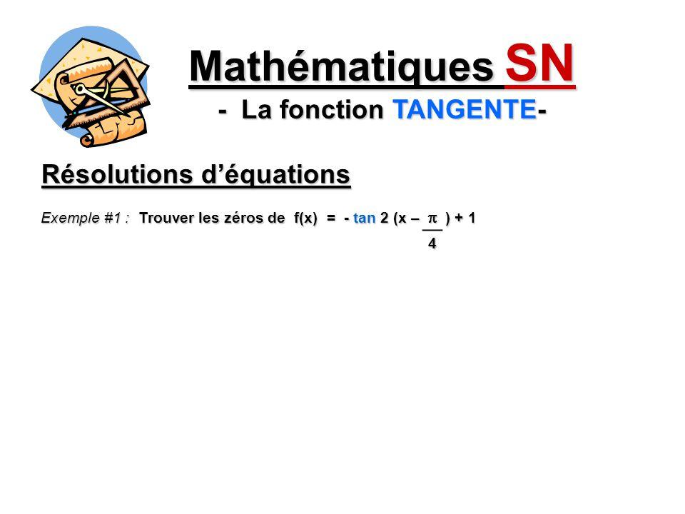 Mathématiques SN - La fonction TANGENTE- Résolutions déquations Exemple #1 : Trouver les zéros de f(x) = - tan 2 (x – ) + 1 4