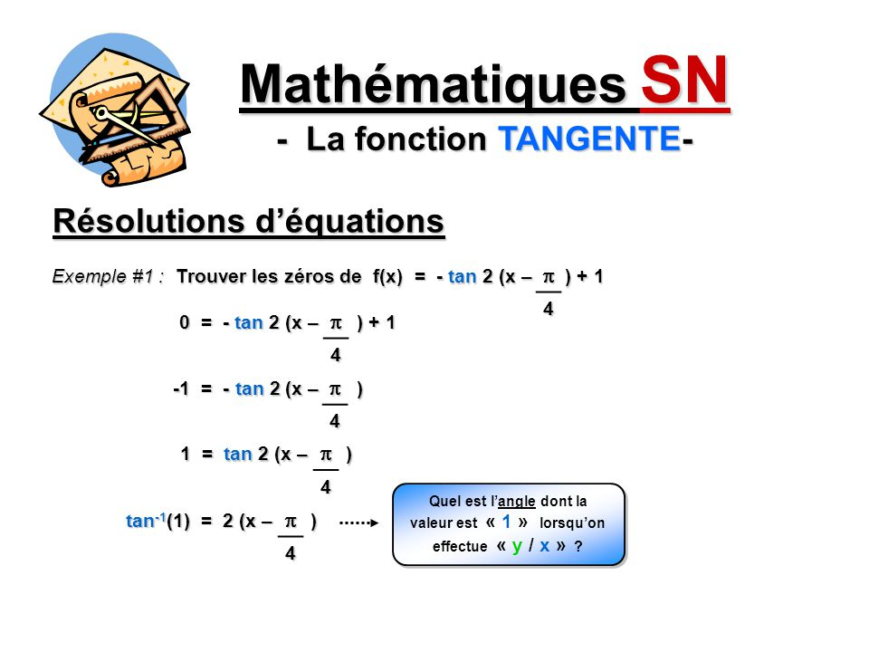 Mathématiques SN - La fonction TANGENTE- Résolutions déquations 0 = - tan 2 (x – ) + 1 Exemple #1 : Trouver les zéros de f(x) = - tan 2 (x – ) + 1 4 4