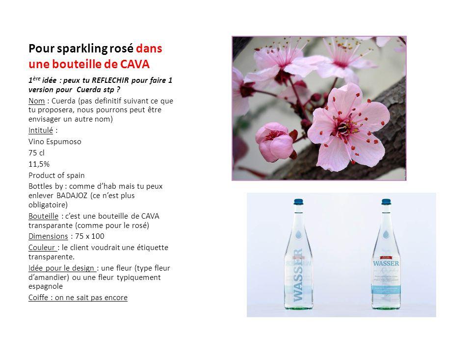 Pour sparkling rosé dans une bouteille de CAVA 1 ère idée : peux tu REFLECHIR pour faire 1 version pour Cuerda stp ? Nom : Cuerda (pas definitif suiva