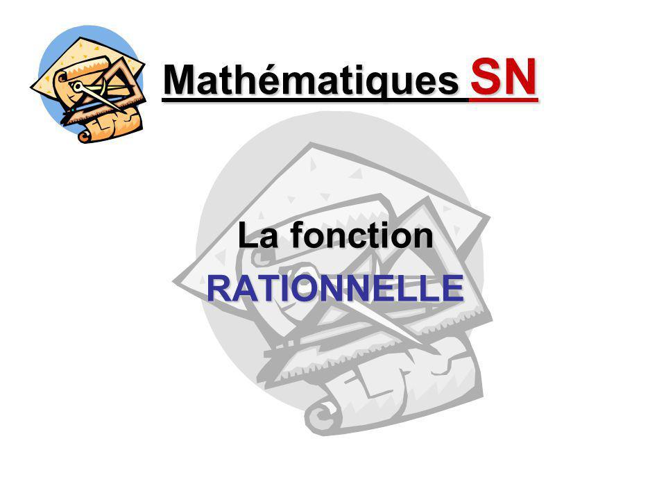 Équations et graphique Mathématiques SN - La fonction RATIONNELLE - f(x) = 1x (forme générale de BASE) f(x) = a + k + k b (x – h) (forme générale TRANSFORMÉE) f(x) = a + k + k x – h (forme CANONIQUE) f(x) = Polynôme 1 Polynôme 2 (forme P / Q) f(x) = 3x – 4 2x + 5 Exemple :