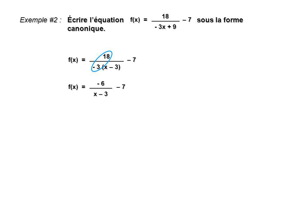 Exemple #2 : Écrire léquation sous la forme canonique. f(x) = 18 - 3x + 9 – 7 f(x) = 18 - 3 (x – 3) – 7 f(x) = - 6 x – 3 – 7
