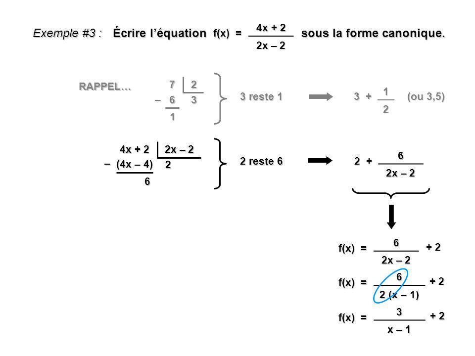 1 Exemple #3 : Écrire léquation sous la forme canonique. f(x) = 4x + 2 2x – 2 4x + 2 2x – 2 2 (4x – 4) – 6 2 + 6 2x – 2 f(x) = 6 2x – 2 + 2 f(x) = 6 2
