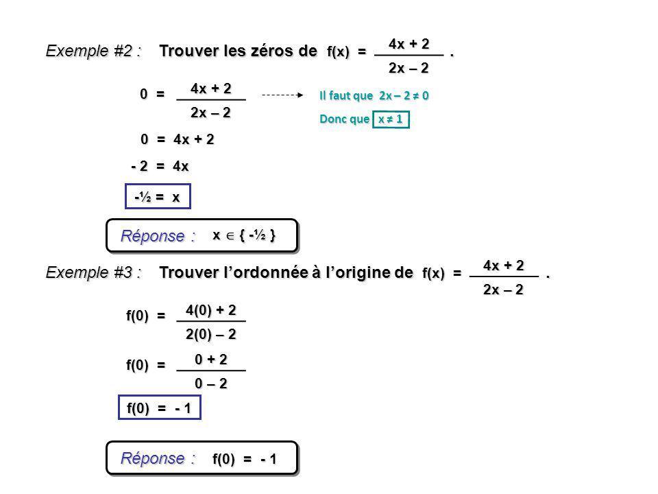 Exemple #2 : Réponse : x { -½ } Trouver les zéros de. -½ = x f(x) = 4x + 2 2x – 2 0 = 0 = 4x + 2 4x + 2 2x – 2 Il faut que 2x – 2 0 Donc que x 1 - 2 =