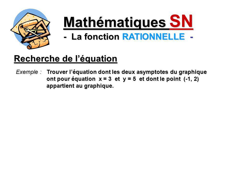 Exemple : Trouver léquation dont les deux asymptotes du graphique ont pour équation x = 3 et y = 5 et dont le point (-1, 2) appartient au graphique.