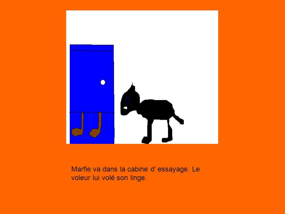 Marfie va dans la cabine d essayage. Le voleur lui volé son linge.