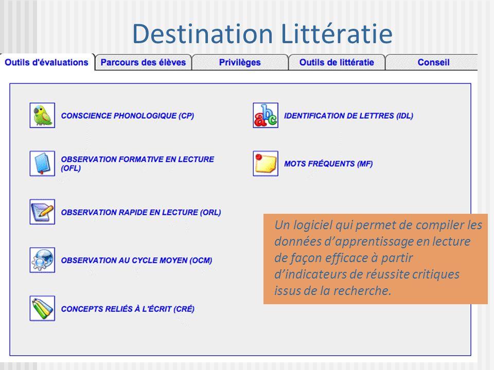 Destination Littératie Un logiciel qui permet de compiler les données dapprentissage en lecture de façon efficace à partir dindicateurs de réussite cr