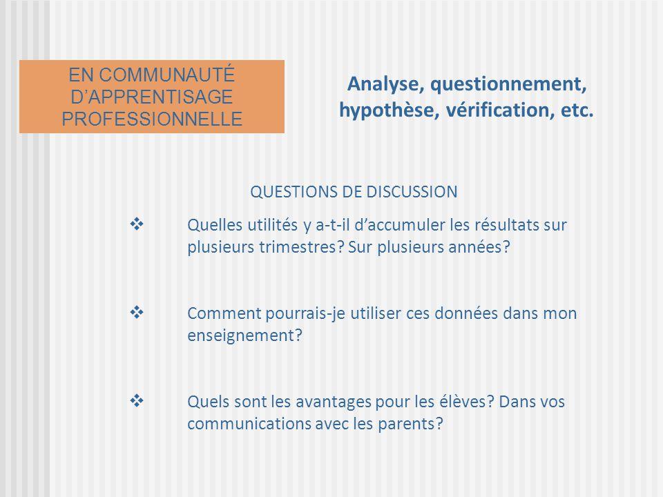 Analyse, questionnement, hypothèse, vérification, etc. QUESTIONS DE DISCUSSION Quelles utilités y a-t-il daccumuler les résultats sur plusieurs trimes
