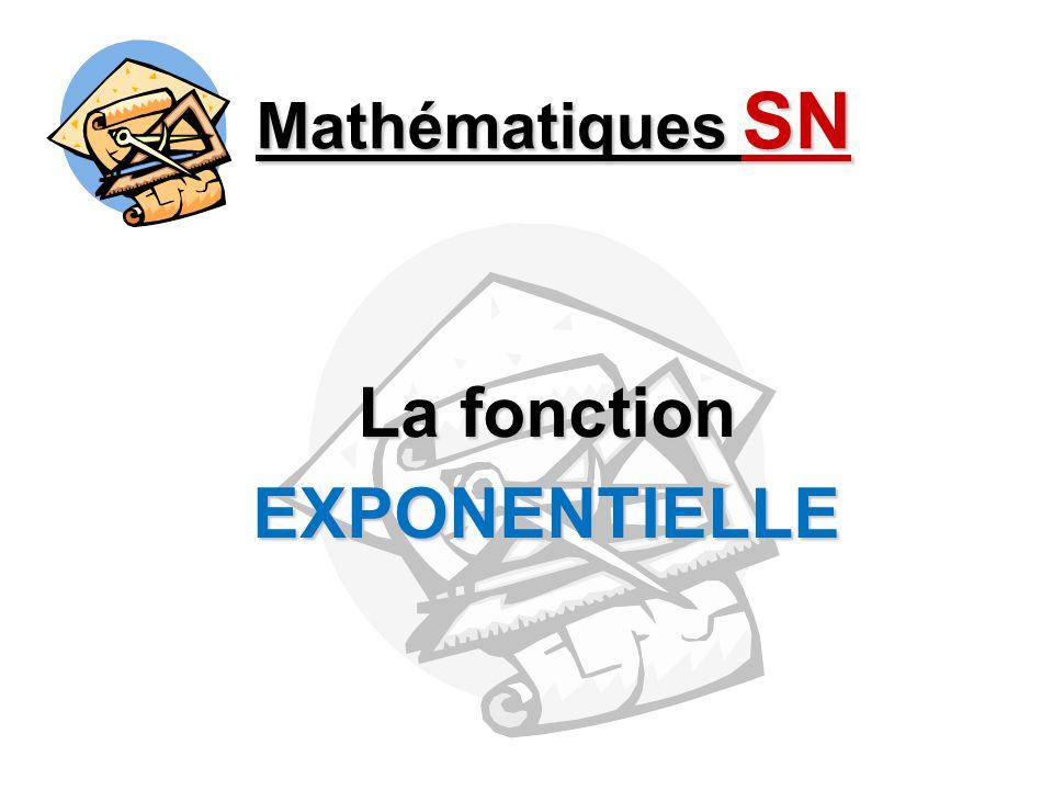 Mathématiques SN La fonction EXPONENTIELLE