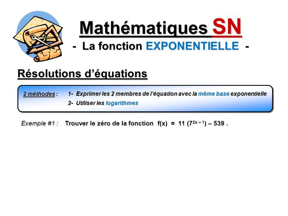 Résolutions déquations Mathématiques SN - La fonction EXPONENTIELLE - 2 méthodes : 1- Exprimer les 2 membres de léquation avec la même base exponentie