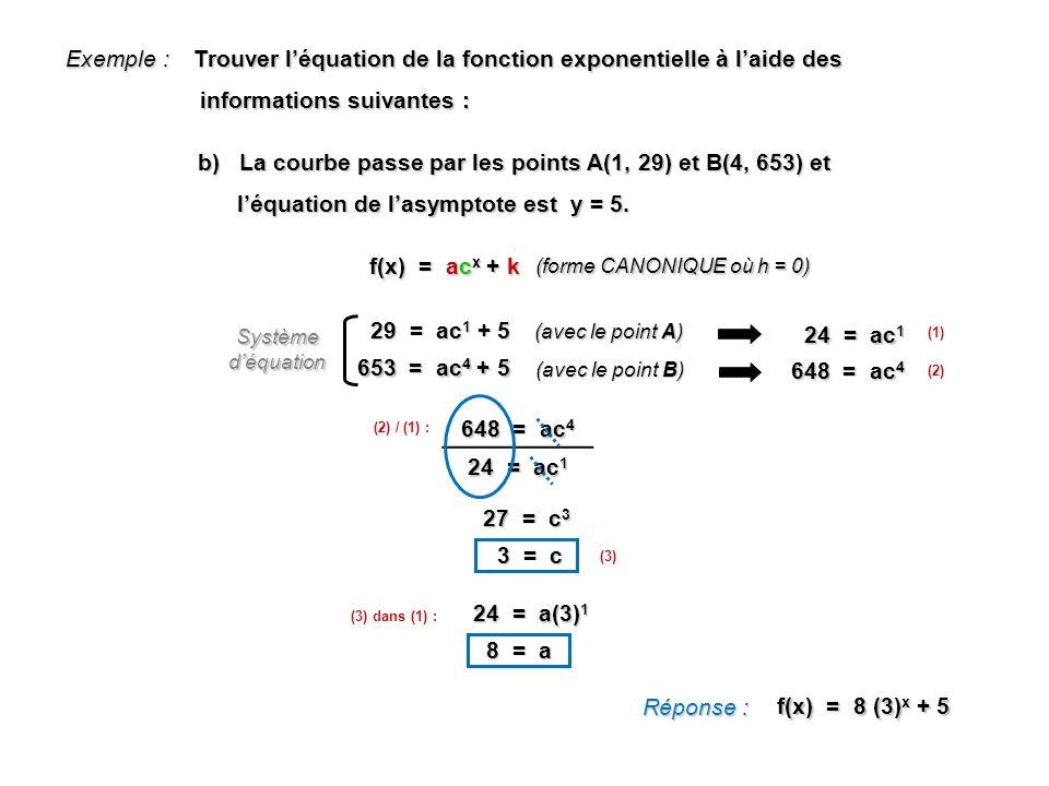 Exemple : Trouver léquation de la fonction exponentielle à laide des informations suivantes : informations suivantes : Réponse : f(x) = 8 (3) x + 5 b)