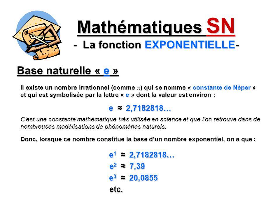 Base naturelle « e » Mathématiques SN - La fonction EXPONENTIELLE- Il existe un nombre irrationnel (comme ) qui se nomme « constante de Néper » et qui
