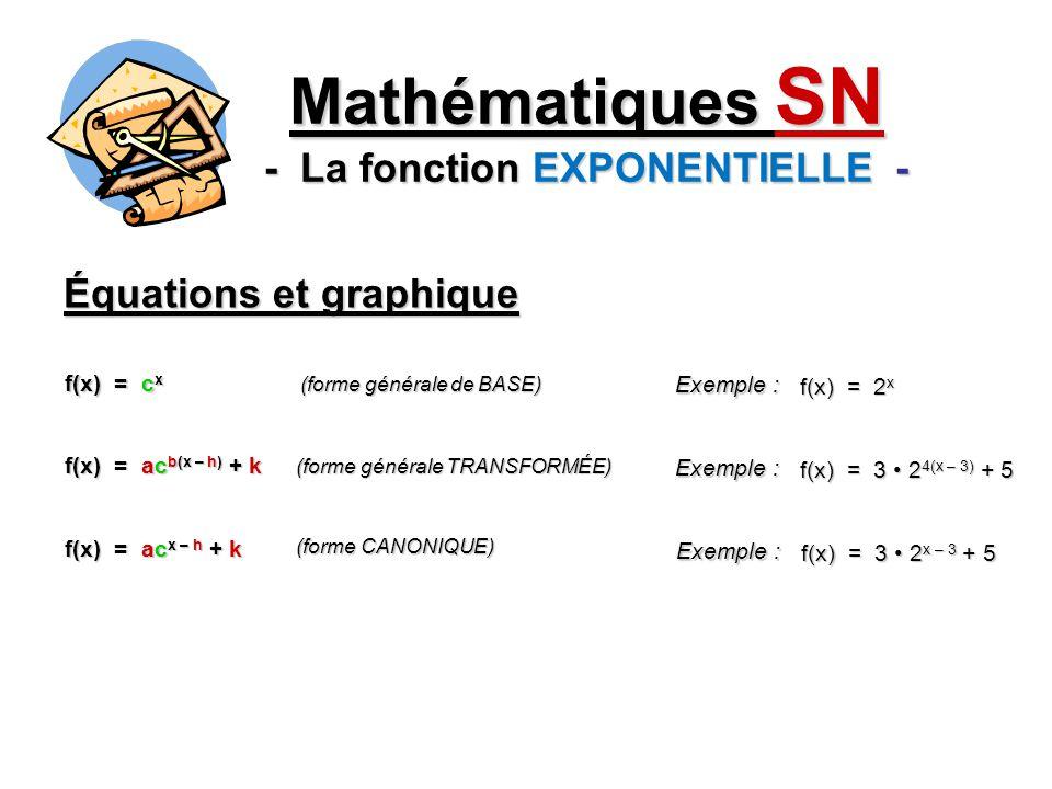 Équations et graphique Mathématiques SN - La fonction EXPONENTIELLE - f(x) = c x (forme générale de BASE) f(x) = ac b(x – h) + k (forme générale TRANS