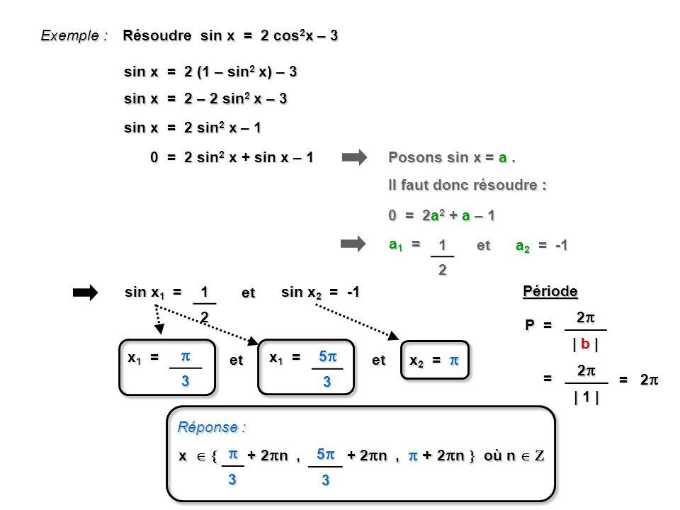 Exemple : Résoudre sin x = 2 cos 2 x – 3 sin x = 2 (1 – sin 2 x) – 3 sin x = 2 – 2 sin 2 x – 3 sin x = 2 sin 2 x – 1 0 = 2 sin 2 x + sin x – 1 Posons sin x = a.