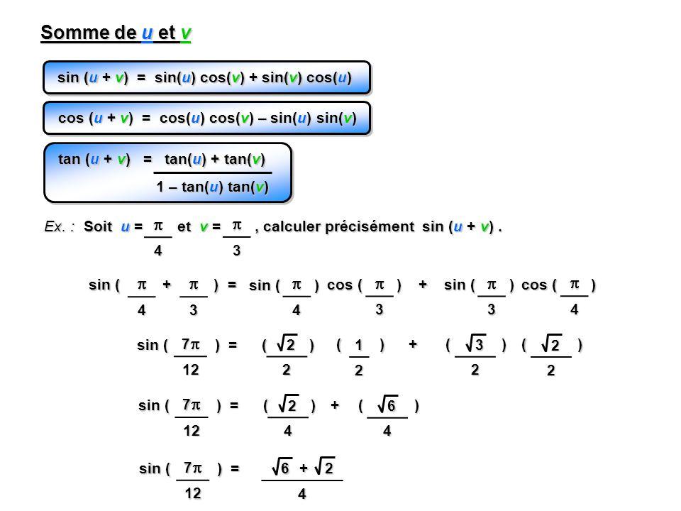 sin (u + v) = sin(u) cos(v) + sin(v) cos(u) Somme de u et v cos (u + v) = cos(u) cos(v) – sin(u) sin(v) Ex. : Soit u = et v =, calculer précisément si