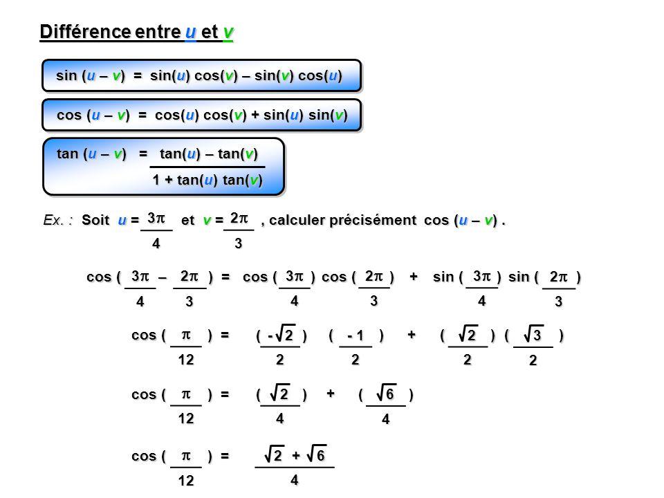 24 sin (u – v) = sin(u) cos(v) – sin(v) cos(u) Différence entre u et v cos (u – v) = cos(u) cos(v) + sin(u) sin(v) Ex.
