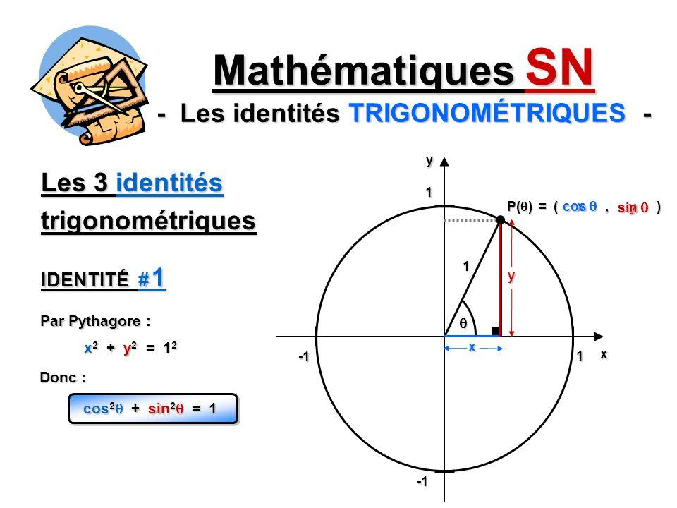 Les 3 identités trigonométriques Mathématiques SN - Les identités TRIGONOMÉTRIQUES - 1 1yx 1 P( ) = (, ) x y x y cos cos sin sin Par Pythagore : x 2 +