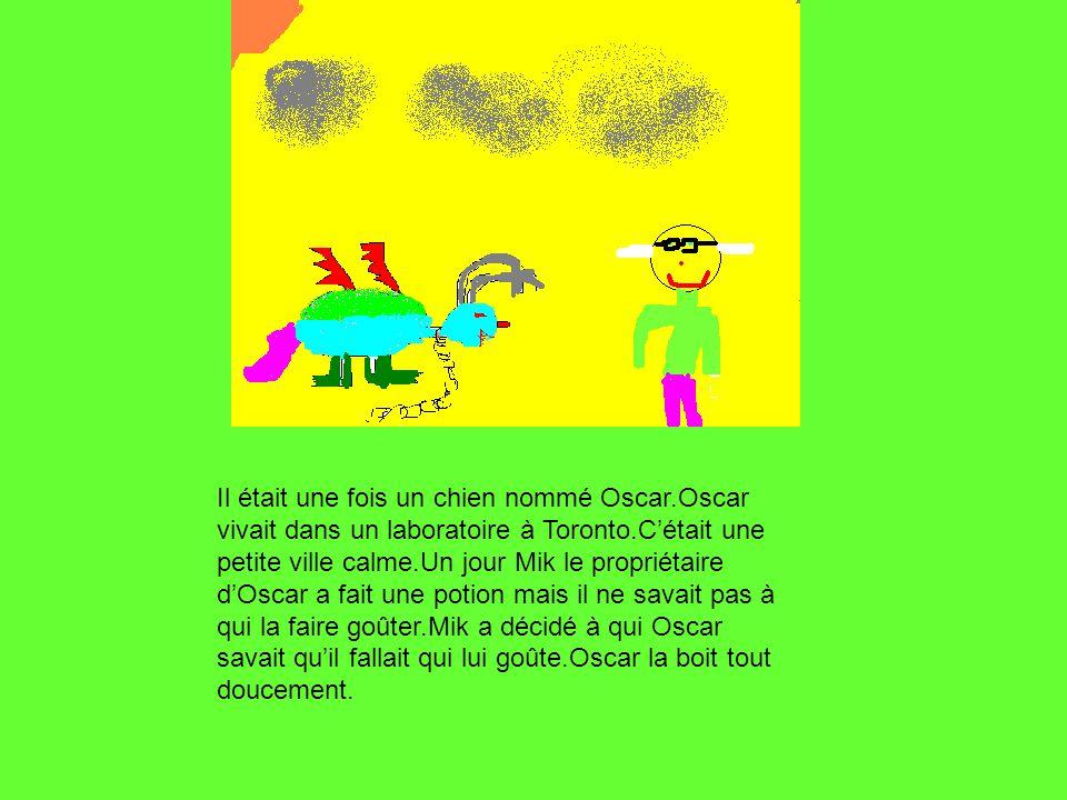 Il était une fois un chien nommé Oscar.Oscar vivait dans un laboratoire à Toronto.Cétait une petite ville calme.Un jour Mik le propriétaire dOscar a fait une potion mais il ne savait pas à qui la faire goûter.Mik a décidé à qui Oscar savait quil fallait qui lui goûte.Oscar la boit tout doucement.