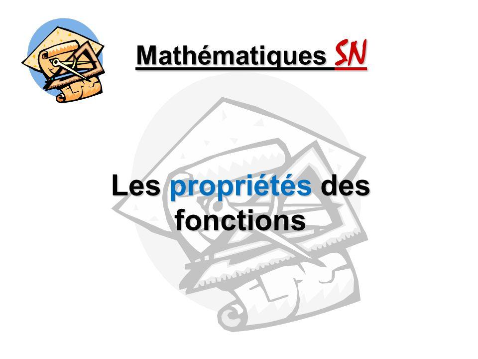 Mathématiques SN Les propriétés des fonctions