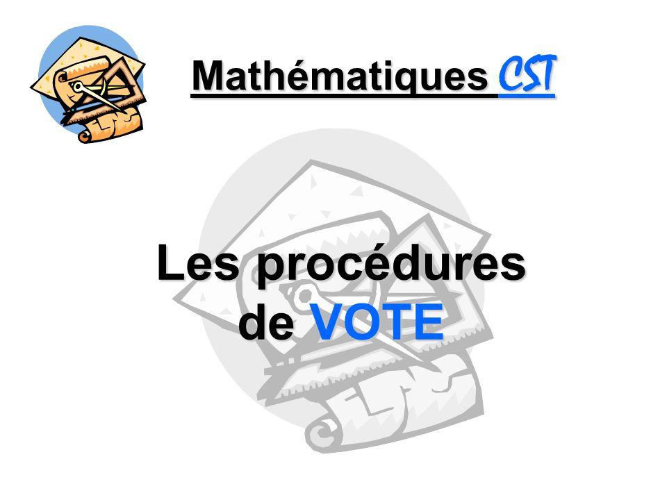 Mathématiques CST - Procédures de vote - Le scrutin à la majorité Le scrutin à la majorité Le candidat qui recueille plus de la moitié des votes remporte lélection.