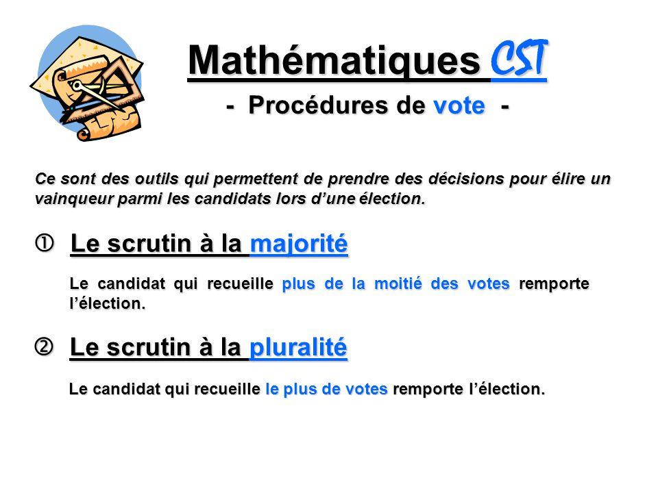 Mathématiques CST - Procédures de vote - Le scrutin à la majorité Le scrutin à la majorité Le candidat qui recueille plus de la moitié des votes rempo