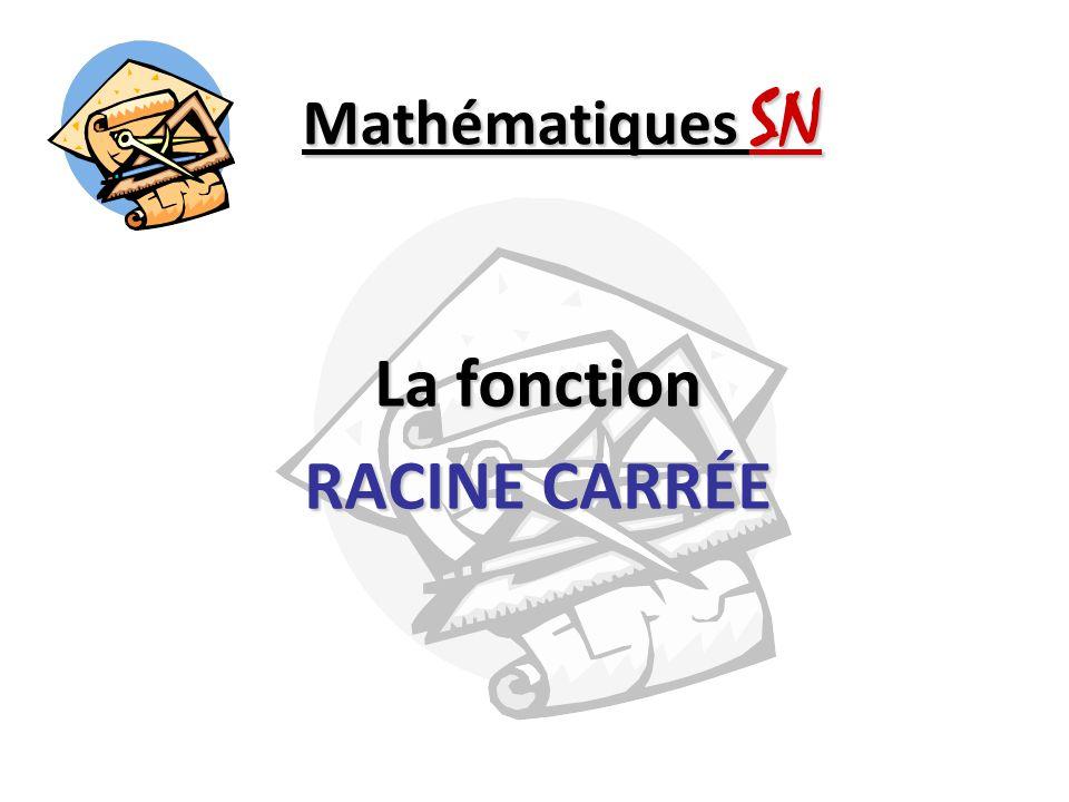 Mathématiques SN La fonction RACINE CARRÉE