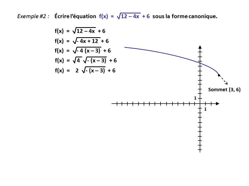 Exemple #2 : Écrire léquation f(x) = 12 – 4x + 6 sous la forme canonique. f(x) = 12 – 4x + 6 f(x) = - 4x + 12 + 6 f(x) = 4 - (x – 3) + 6 f(x) = - 4 (x