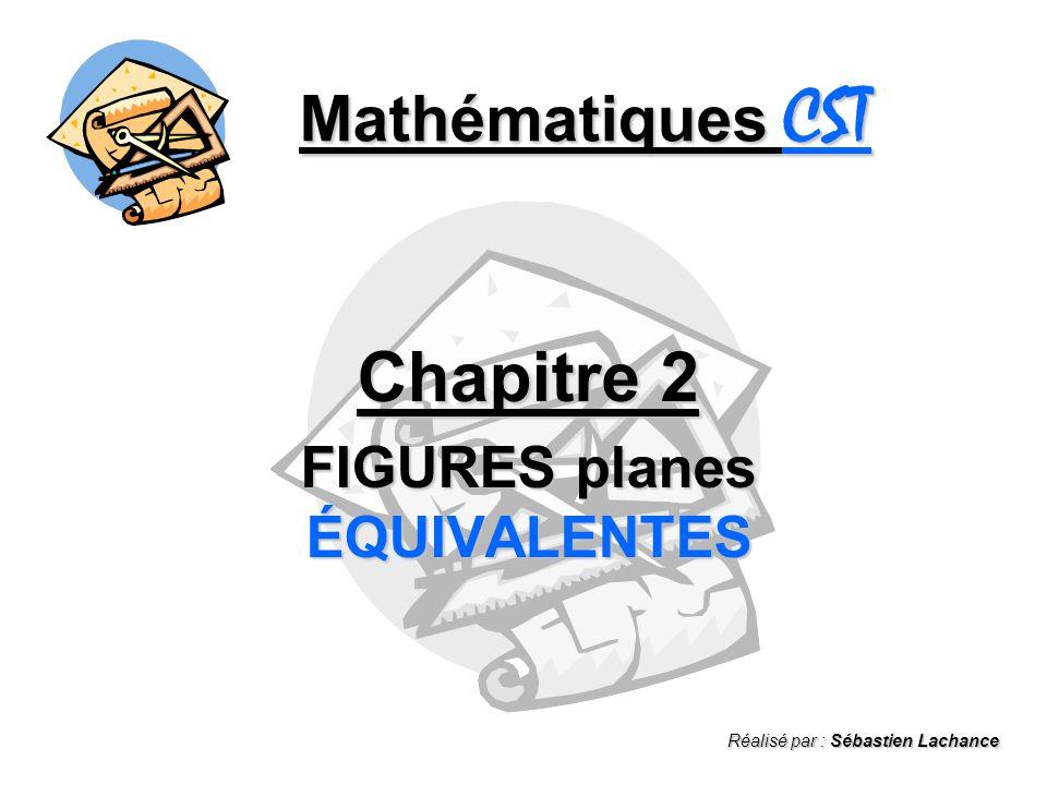 Mathématiques CST Chapitre 2 FIGURES planes ÉQUIVALENTES Réalisé par : Sébastien Lachance