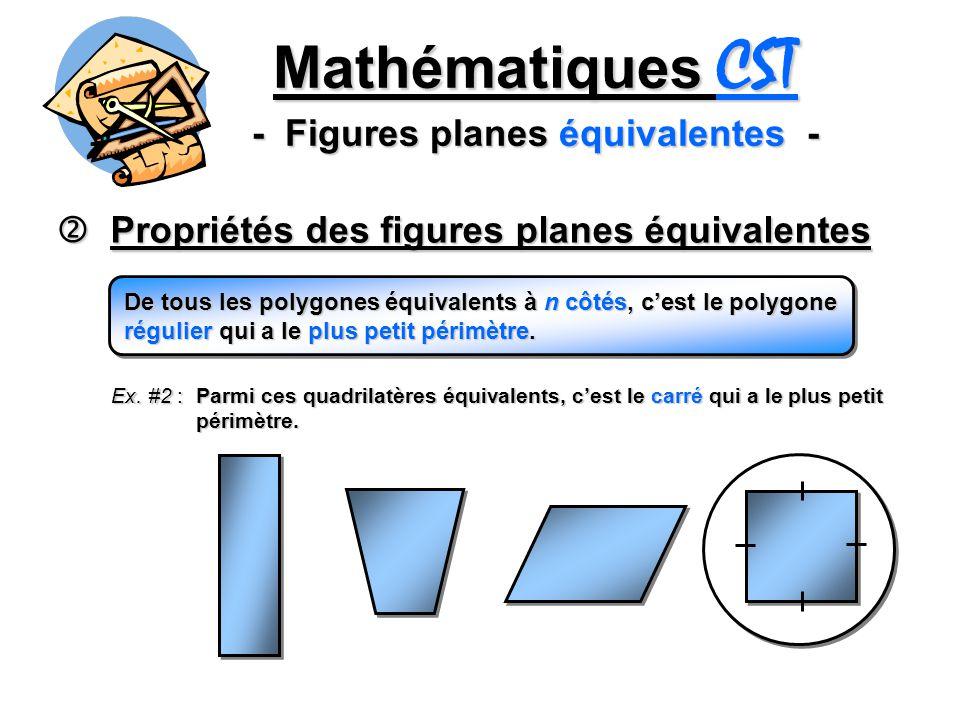 Mathématiques CST - Figures planes équivalentes - Propriétés des figures planes équivalentes Propriétés des figures planes équivalentes De tous les polygones équivalents à n côtés, cest le polygone régulier qui a le plus petit périmètre.