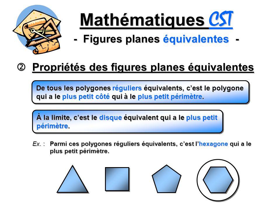 Mathématiques CST - Figures planes équivalentes - Propriétés des figures planes équivalentes Propriétés des figures planes équivalentes De tous les polygones réguliers équivalents, cest le polygone qui a le plus petit côté qui à le plus petit périmètre.