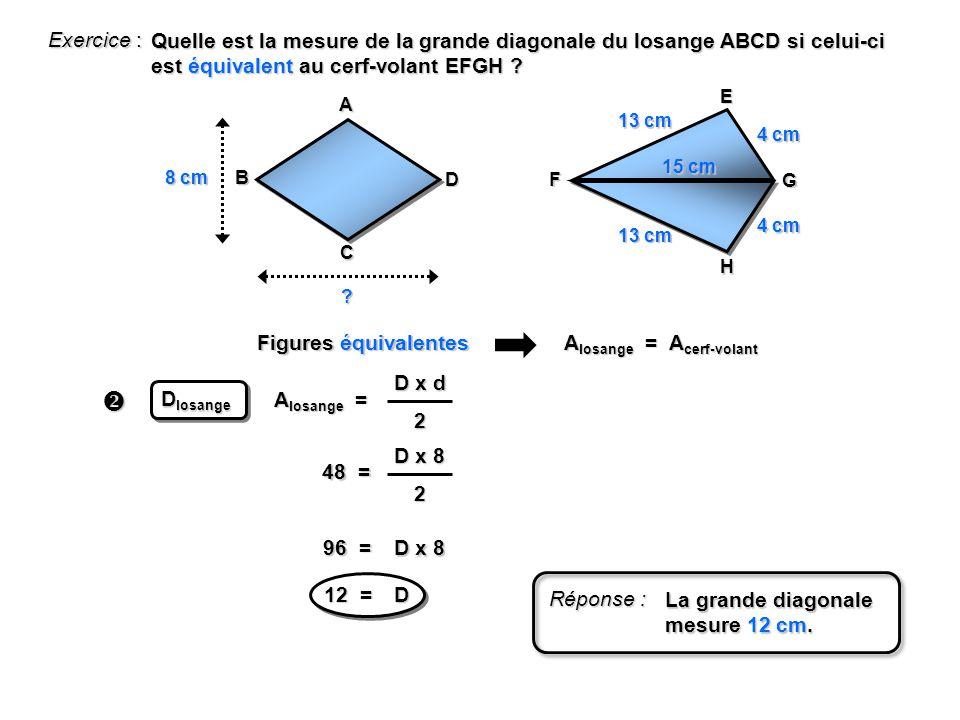 Exercice : Quelle est la mesure de la grande diagonale du losange ABCD si celui-ci est équivalent au cerf-volant EFGH ? A B C D E F G H 8 cm 13 cm 4 c